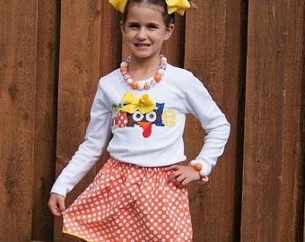 Gobble Thanksgiving Outfit - Thanksgiving Turkey Skirt Set - Infant Toddler Youth Girl Sizes