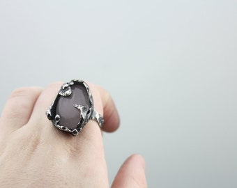 size 9 statement ring, rose quartz sterling silver ring, freeform sculptural organic ring, artistic ring