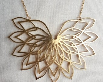 Sacred Geometry 3d Printed Statement Necklace- Solid Brass