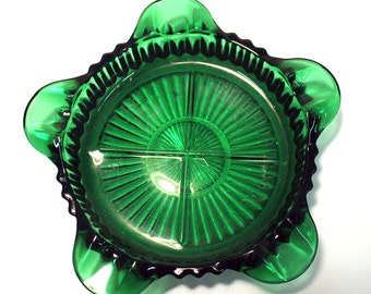 Anchor Hocking Queen Mary Forest Green Glass Ashtray