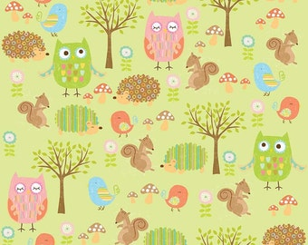 Owl & Co Fabric Friends in Green by Riley Blake - Half Yard