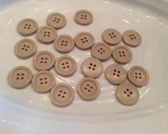 All the same - 21 vintage light brown / beige 4 hole plastic buttons