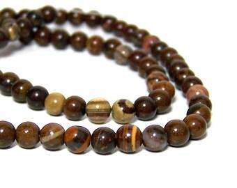Jupiter Jasper beads, 6mm round natural brown gemstone, full  or half strands  (689S)
