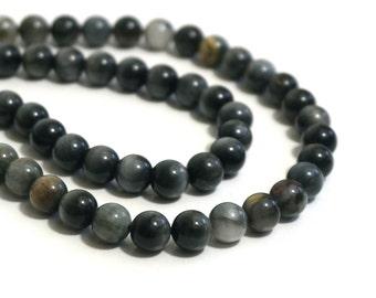 8mm Chrysoberyl Catseye Beads, round natural grey gemstone, Hawks Eye Agate, Eagle Eye Jasper, full & half strands available (1223R)