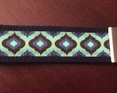 Navy Blue and Green Lantern Design Wristlet / Key Fob Wristlet / Key Ring Wristlet