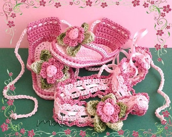 Crochet pattern - LEA flip flops and headband baby set. Permission to sell finished items.