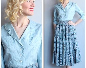 20% Sale 1950s Shirt // Blue Silk Blouse // vintage 50s blouse