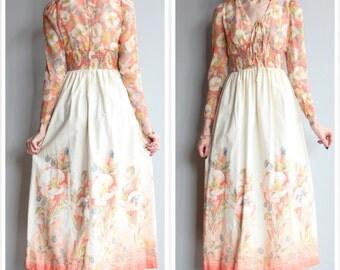 1970s Dress // Bright Floral Maxi Dress // vintage 70s dress