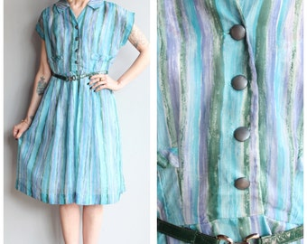 1950s Dress // On the Sea Dress // vintage 50s dress