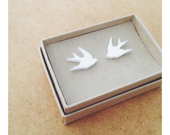 Lasercut Bright White Swallow Stud Studs