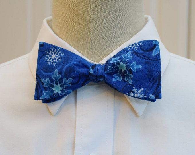 Men's Bow Tie, blue snowflakes bow tie, blue Christmas bow tie, holiday bow tie, winter bow tie, blue snow crystal bow tie, Hanukkah bow tie