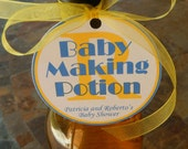 "30 Baby Shower Custom 3"" Favor Tags - Baby Making Potion - for Wine or Champagne Bottles - Gift Favor Tags - Personalized Thank You Tags"