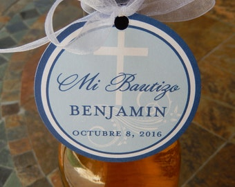 """3"""" Custom Mi Bautizo Spanish Baptism Favor Tags - For Wine Bottles - Favor Boxes - Party Favors - (50) 3"""" personalized circle printed tags"""