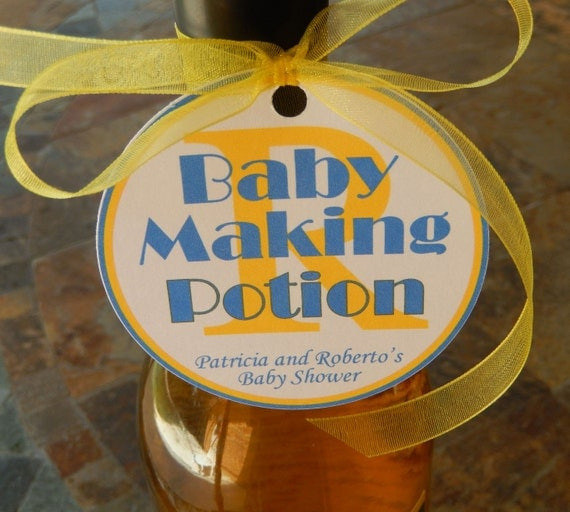 "50 Baby Shower Custom 3"" Favor Tags - Baby Making Potion - for Wine or Champagne Bottles - Gift Favor Tags - Personalized Thank You Tags"