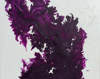 Original Abstract Painting Signed Modern Art - LIQUID ART Technique - Shiny, resin style quality