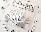 Just Engaged festive-fetti™ Confetti - Wedding Confetti in a Bag / Congratulations Confetti / Silver Diamond Ring Confetti for Bride to Be