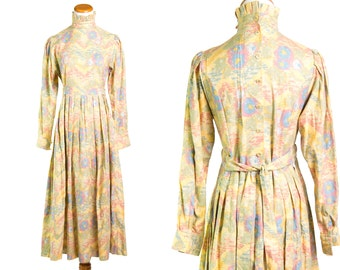 Vintage 1970s Laura Ashley Collectible Yellow Southwestern Floral Dress * Victorian Abstract Blue Pink Green * Size Small * FREE SHIPPING