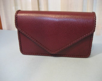 Vintage NIB S Audia's Burgundy Italian Leather Clutch With Mirror Never Used