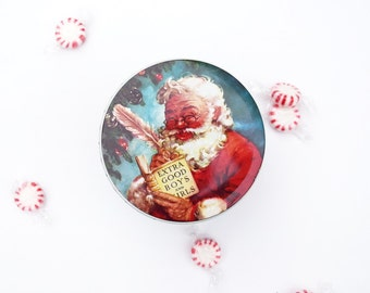 Christmas tin box-Daher-Extra good boys and girls-storage container-England-Santa Claus
