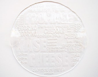 Cheese platter art glass appetizer platter typography design wine cheese party serving tray housewarming gift rustic wedding serving plate
