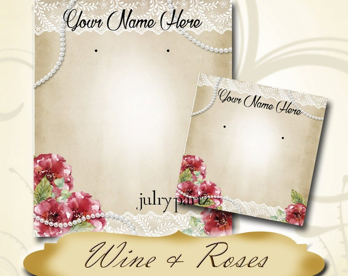 WINE & ROSES•Earring Cards•Jewelry Card•Earring Display•Earring Holder•Custom Earring Card•Boutique Card