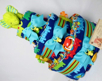 Baby Diaper Cake Elephants Shower Gift Centerpiece Boys Girls