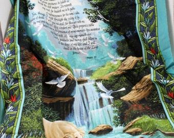 23rd Psalm fabric waterfall script  biblical craft supply sewing quilting home decor