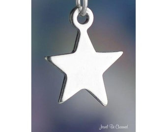Sterling Silver Star Charm Flat Shiny Stars Superstar Night Sky .925