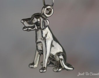Sterling Silver Sitting Labrador Retriever Lab Dog Charm 3D Solid .925