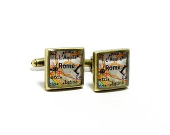 CUSTOM Vintage Map Square Cufflinks. One Pair. Select Two Cites Worldwide. Square Map Cuff Links. Travel Gifts For Him. Gift For Men.