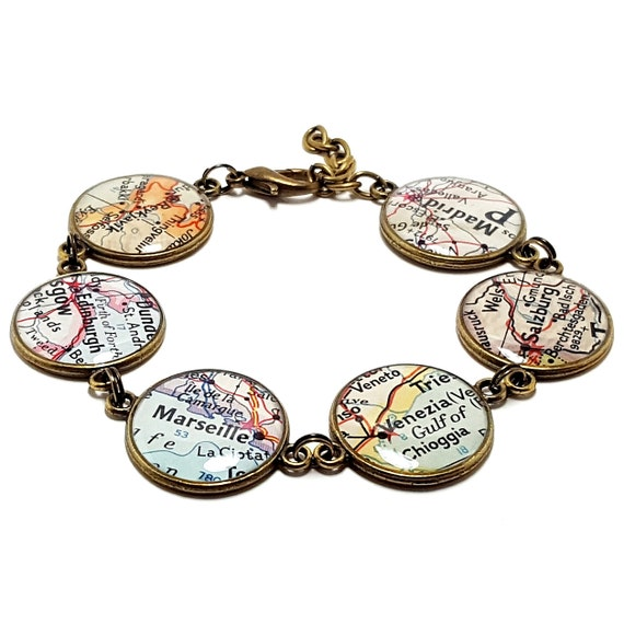 Custom Vintage Map Bracelet. You Select Six Cities, States, or Countries Worldwide. Travel Gifts For Women. Wanderlust. Wonderlust. Travel.
