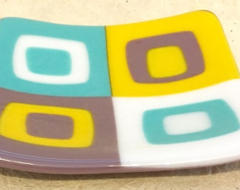 Fused Glass Spoon Rest, glass candle plate, fused glass soap dish