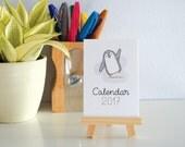 Penguin Desk Calendar 2017. Cute Desk Accessory. A7 Calendar on mini Easel.