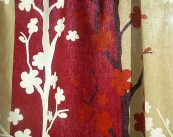"Wedding Tablecloth Topper Retro 27"" Floral Raspberry Red Taupe Overlay Console Party Table Slip Centrepiece 100% Cotton"