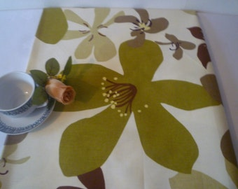 "Table Runner Retro Green Brown on Cream Funky Floral Cotton 54"" long"