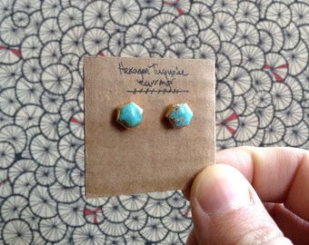 Gold plated hexagon turquoise studs