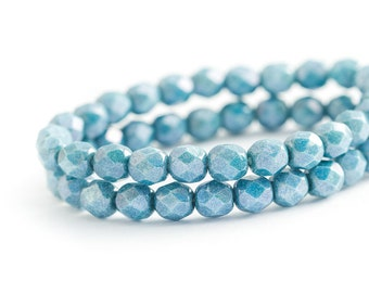 NEW Blue Denim Czech Glass Beads, Round Faceted Fire Polished Spacers (6mm) x 25