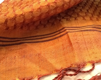 Vintage Large Shawl Rust Tan with Fringe Wrap Scarf