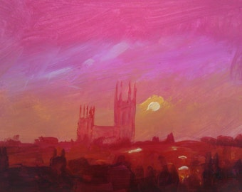 Canterbury Sunset 1 Original Acrylic on Paper Painting
