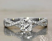 Infinity Engagement Ring Diamond Engagement Ring / Cushion Cut Engagement Ring / Princess Cut diamond ring