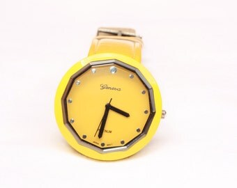 Big Yellow Sports Watch, Leather Band, Sporty Watch, Ready to Ship