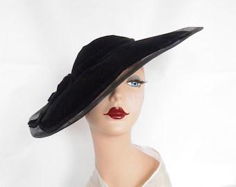 Vintage 1950s hat, black velvet Audrey Hepburn, Royce