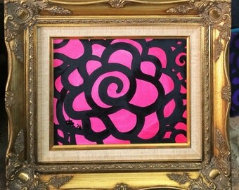 Small pink rose painting with ornate gold frame