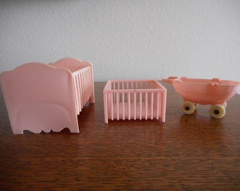 Marx Dollhouse Furniture Vintage Crib #1 and Donald Duck Playpen #3 plus Thomas Baby Carriage #I-139 c.1940s-50s FREESHIPPING