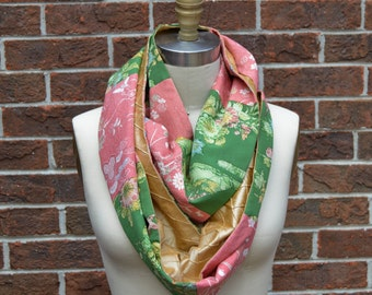 Silk Infinity Scarf - Vintage Japanese Kimono Silk and Pintuck Dupioni - Pink, Green, and Gold