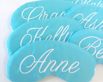 Elegant Personalized Robin's Egg Blue Sleep Masks Party Pack for Weddings, Slumber Parties, Girls Trips