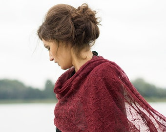 Burgundy Linen Scarf Marsala Shawl Wedding Stole Bridesmaids Stole Lace Scarf Sheer Wrap Knitted Scarves Boho Scarf Summer Shawl