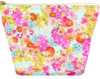 Colorful Summer Bright Floral Print with light mint Background. Handy Accessory Clutch, Handbag, Makeup Pouch, Comes in two perfect sizes.