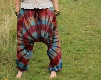 Baggy Harem Tie Dye Aladdin Trousers, Harem Pants