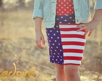 Girls Knit pencil skirt in American Flag